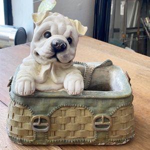 Puppy planter decor